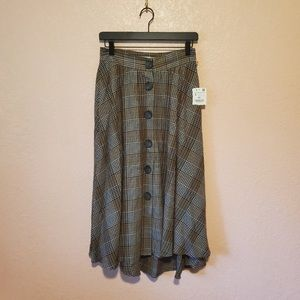 ZaraBasic Brown Plaid ButtonFront Flare Midi Skirt